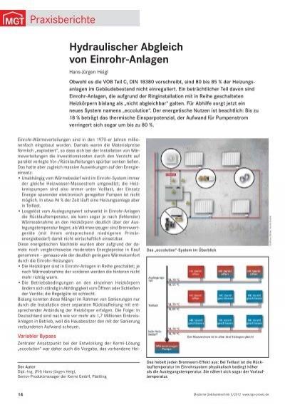 hydraulischer abgleich von einrohr anlagen praxisberichte. Black Bedroom Furniture Sets. Home Design Ideas