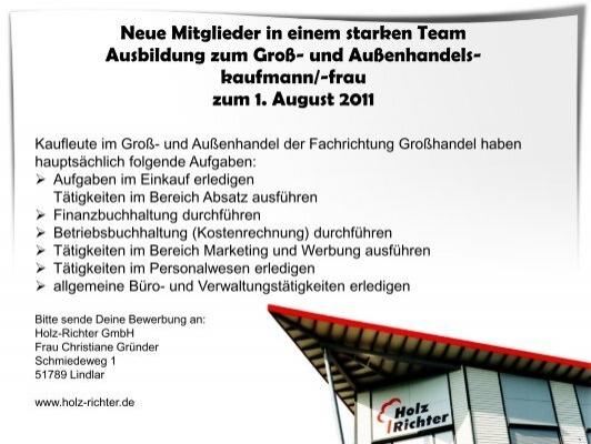 Holz Richter Parkett kaufmann frau für marketingkommunikation holz richter