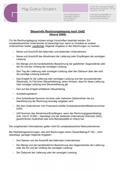 Steuerinfo Rechnungslegung Nach Ustg Stand Gudrun Schubert