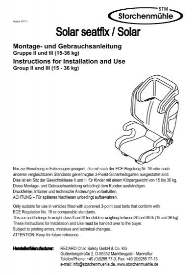 storchenm hle solar seatfix kindersitz isofix 15 36 kg. Black Bedroom Furniture Sets. Home Design Ideas