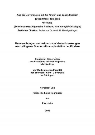 kumulative dissertation medizin tübingen