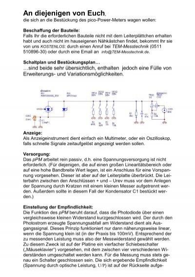 An diejenigen von Euch, - TEM Messtechnik GmbH