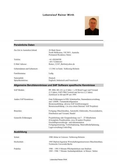 LEBENSLAUF (PDF zum Downloaden) - Deutsch