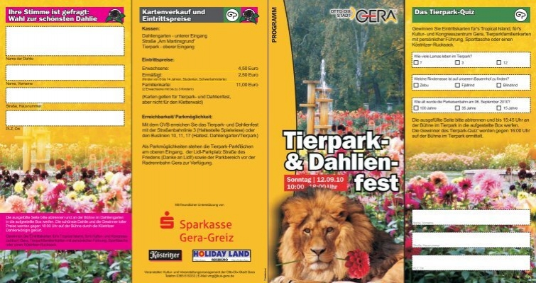 flyer mit programm tierpark und dahlienfest stadt gera. Black Bedroom Furniture Sets. Home Design Ideas