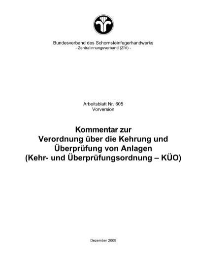 Kommentar zur Verordnung über die Kehrung und Überprüfung von ...