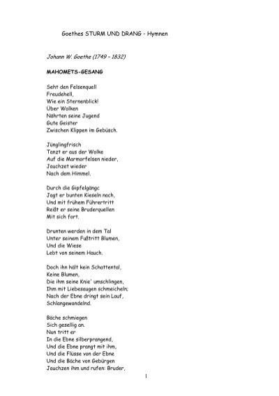 Goethes Sturm Und Drang Hymnen Lyrikschadchen