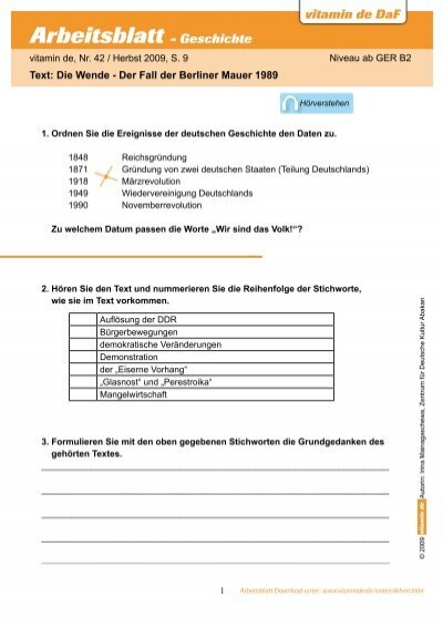 Arbeitsblatt - Geschichte - Deutsch lernen mit vitamin de