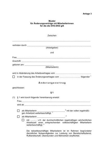 muster nderungsvertrag dvoekd weiblich - Anderungsvertrag Muster