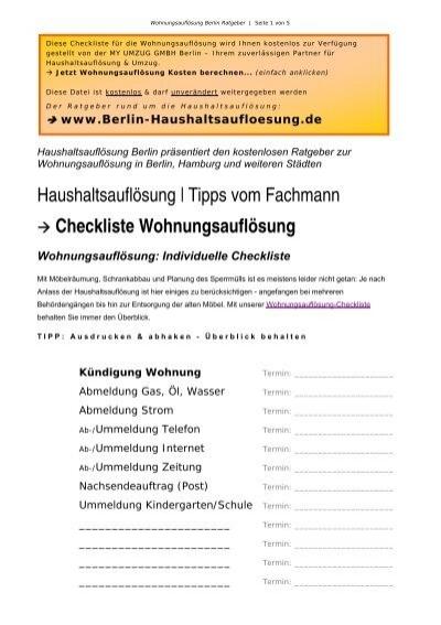 Haushaltsauflösung Tipps checkliste wohnungsauflösung haushaltsauflösung berlin