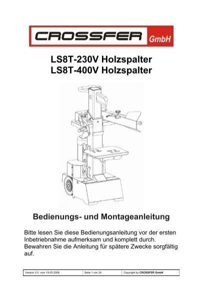 ls8t 230v holzspalter ls8t 400v holzspalter bedienungs. Black Bedroom Furniture Sets. Home Design Ideas