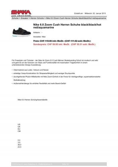 Nike 6.0 Zoom Cush Herren Schuhe blackblack SHAKAshop.ch
