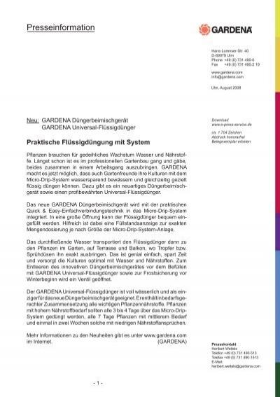 Praktische Flussigdungung Mit System Pdf Karriere Gardena