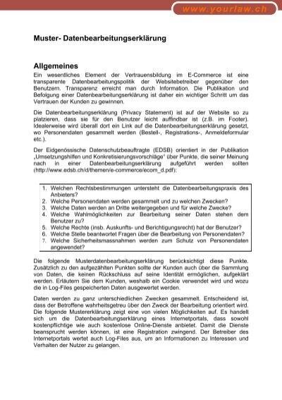 Muster- Datenbearbeitungserklärung - Weblaw