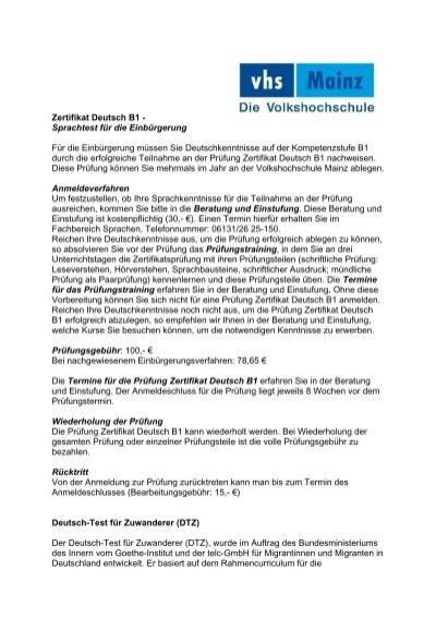 Musterbriefe Für B1 Prüfung : Zertifikat deutsch b sprachtest für die einbürgerung