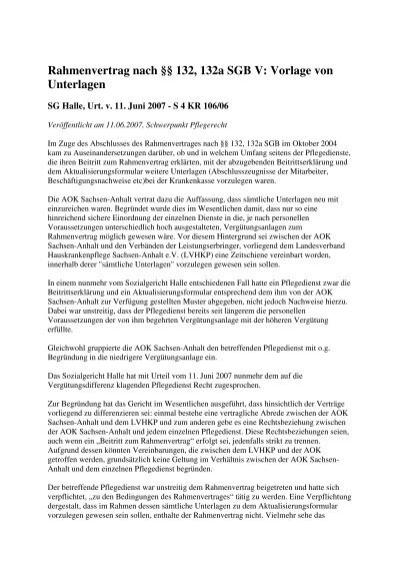 Rahmenvertrag Nach 132 132a Sgb V Vorlage Von Unterlagen