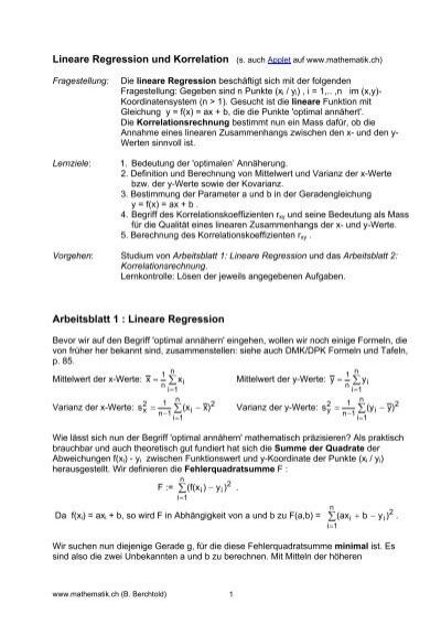 Lineare Regression und Korrelation - Mathematik.ch