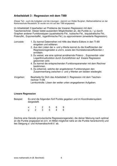 Tolle Quadratische Regression Arbeitsblatt Fotos - Arbeitsblatt ...