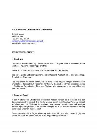 Kinderkrippe Chinderhuis Obwalden Spitalstrasse 4 6060