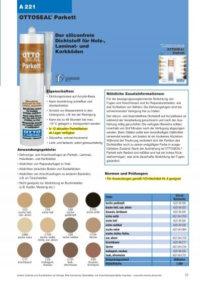 Parkettacryl Kork Laminat Acryl Fugenmasse Dichtstoff Holzfarbtone