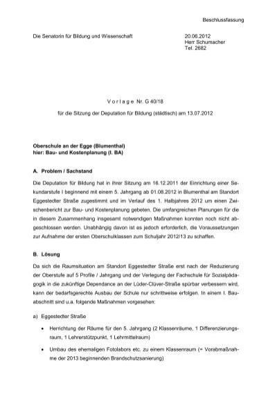 G4018 Oberschule An Der Egge Die Senatorin Für Bildung Und