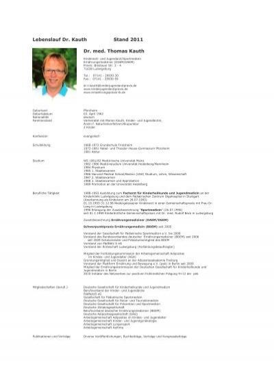 lebenslauf dr kauth 2011 kinderjugendarztpraxis ludwigsburg