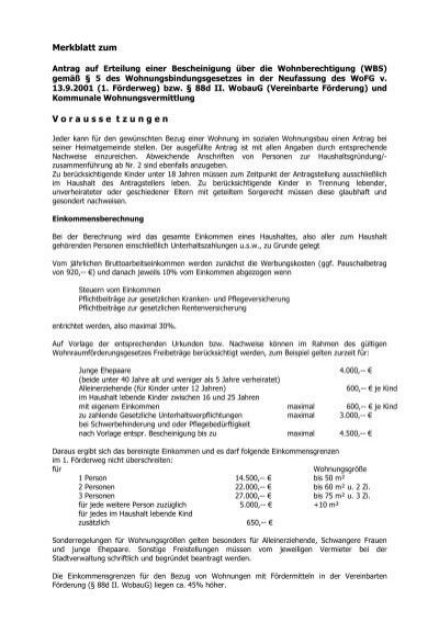 Merkblatt Zum Antrag Auf Erteilung Einer Wbs Pdf Bebra