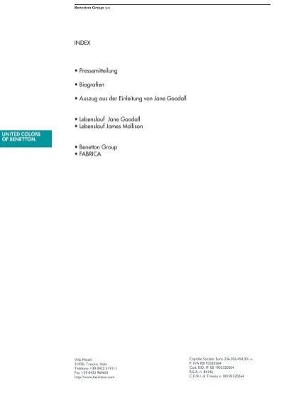 Lebenslauf Jane Goodall - Benetton Group