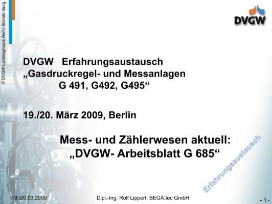 """Mess- und Zählerwesen aktuell: """"DVGW- Arbeitsblatt G 685"""""""