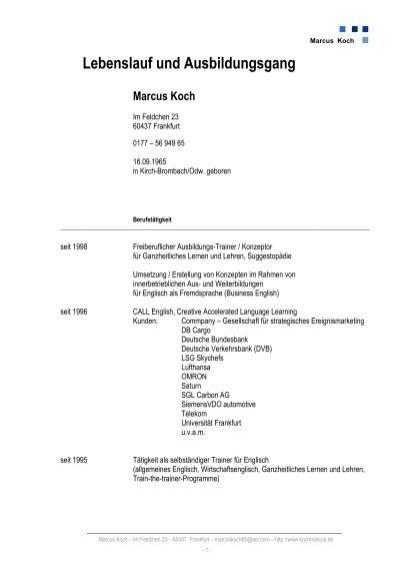 Lebenslauf Dr. Koch - Dr. Koch Consulting Ek