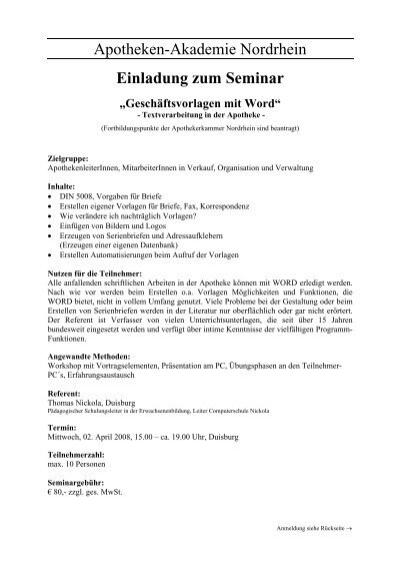 Einladung Zum Seminar Geschaftsvorlagen Mit Word