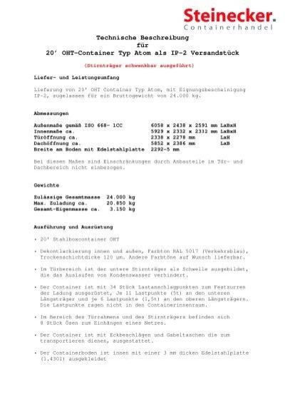 OHT Container - Steinecker Containerhandel GbR