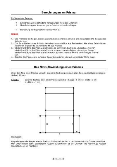 berechnungen am prisma das netz abwicklung eines prismas. Black Bedroom Furniture Sets. Home Design Ideas