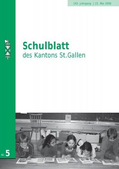 Schulblatt 2006 Nr 5 1777 Kb Pdf Schule Sg Ch Kanton St Gallen