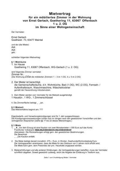 Unser Fairer Mietvertrag Als Pdf Ernst Gerlach Vorlage Kndigung