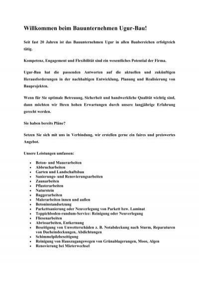 Willkommen Beim Bauunternehmen Ugur Bau Amyhcdnnet