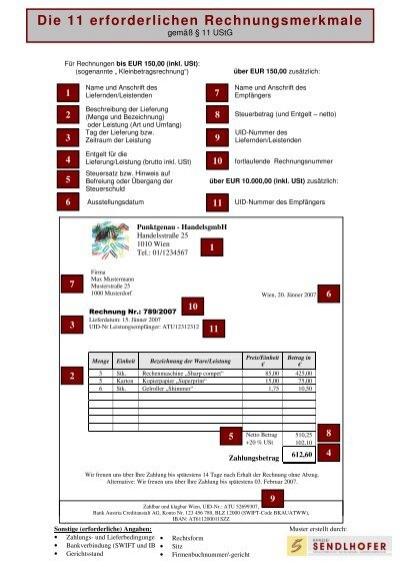 Musterrechnung Die 11 Erforderlichen Rechnungsmerkmale