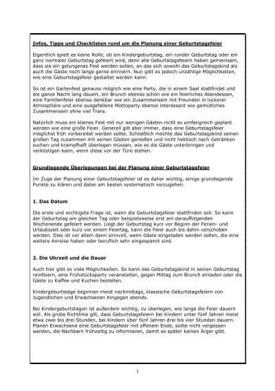 Checkliste Und Planung Einer Geburtstagsfeier Geburtstagsgrusse
