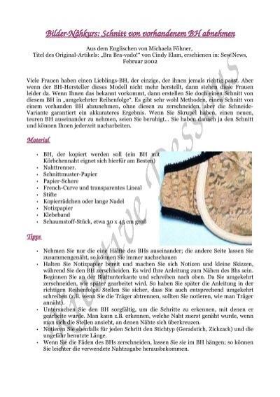 BilderNähkurs: Schnitt von vorhandenem BH abnehmen - ELingeriA