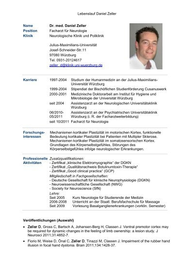 Lebenslauf Daniel Zeller Name Dr. med. Daniel Zeller Position ...