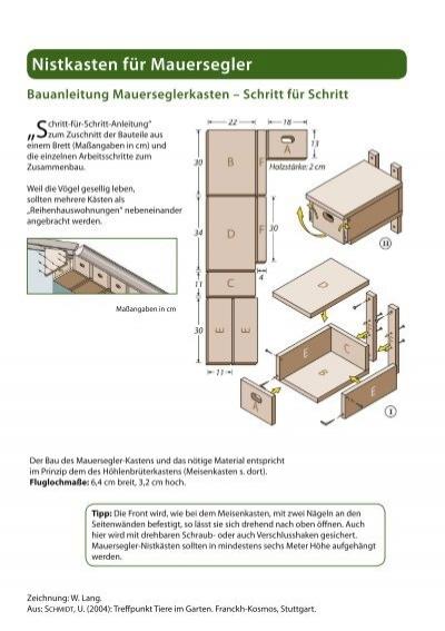 anbringen von mauersegler. Black Bedroom Furniture Sets. Home Design Ideas