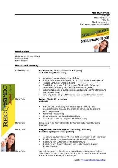 kostenloser lebenslauf architekt recruitment specialist - Lebenslauf Schweiz