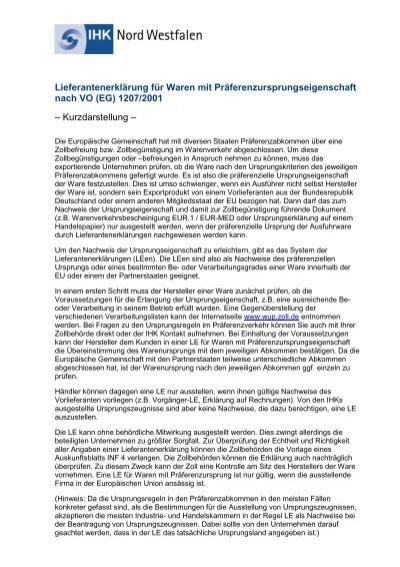 lieferantenerklrung fr waren mit prferenzursprungseigenschaft - Lieferantenerklarung Muster
