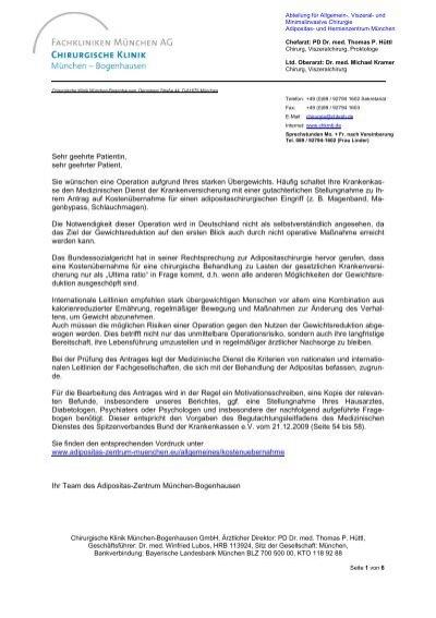 hilfe zur antragstellung pdf dokument das adipositas zentrum - Anschreiben Krankenkasse Kostenbernahme