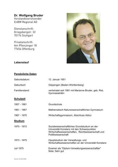 lebenslauf dr wolfgang bruder pdf enbw - Bruder Grimm Lebenslauf