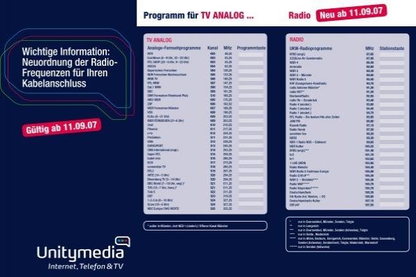 Unitymedia Senderliste Analog Frequenzen