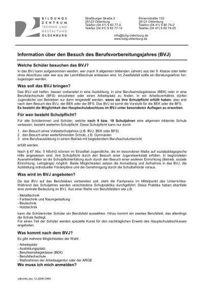 Bvj Info Bildungszentrum Für Technik Und Gestaltung Oldenburg