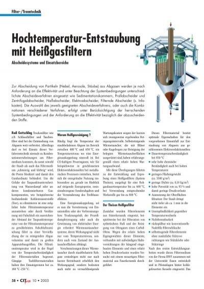 Hochtemperatur-Entstaubung mit Heißgasfiltern - Filtra Guide