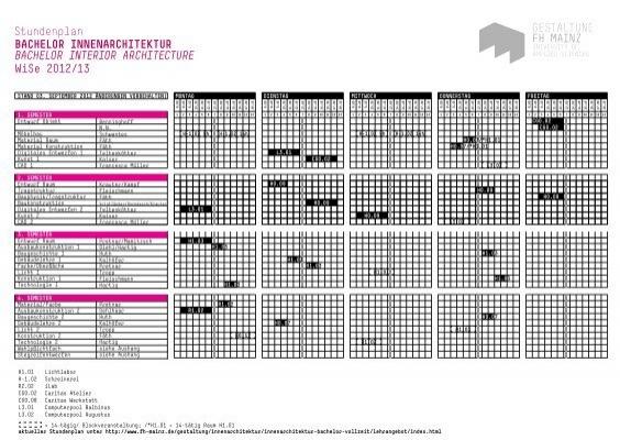 Stundenplan bachelor innenarchitektur bachelor interior for Bachelor innenarchitektur