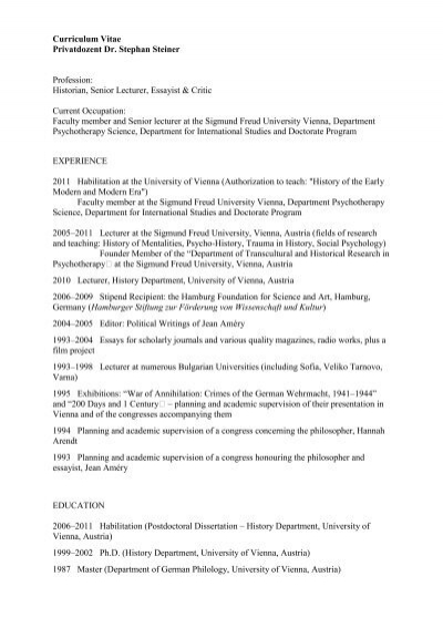 curriculum vitae privatdozent dr  stephan steiner profession