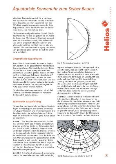 quatoriale sonnenuhr zum selber bauen helios sonnenuhren. Black Bedroom Furniture Sets. Home Design Ideas